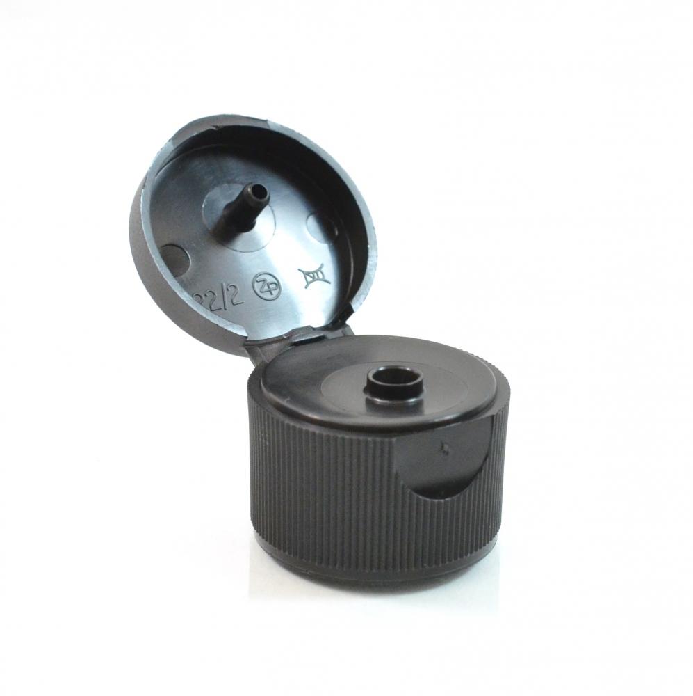 24/410 Ribbed Black Snaptop Dispensing PP Cap