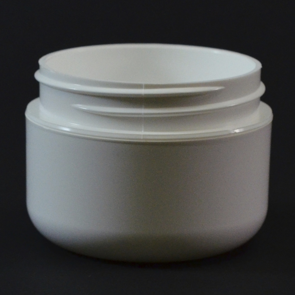 1/2 oz 48/400 Double Wall Round Base White PP Jar