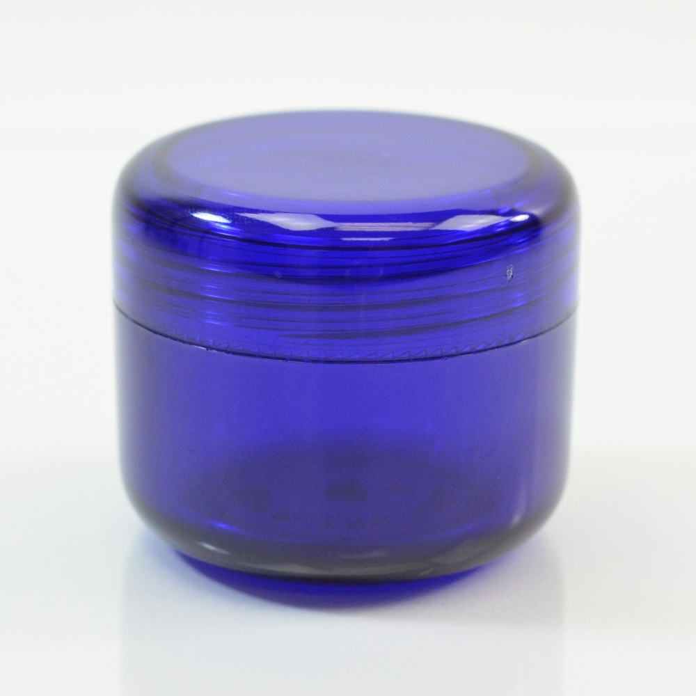 1 oz 43 MM Cobalt Blue Thick Wall Round Base SAN Jar