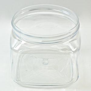 Plastic Jar 16 oz. Firenze Square Clear PET 89-400_1224
