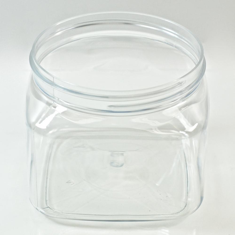 16 oz 89/400 Firenze Square Clear PET Jar