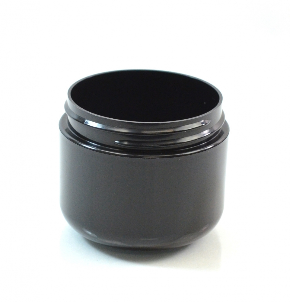 2 oz 58/400 Double Wall Round Base Black PP Jar