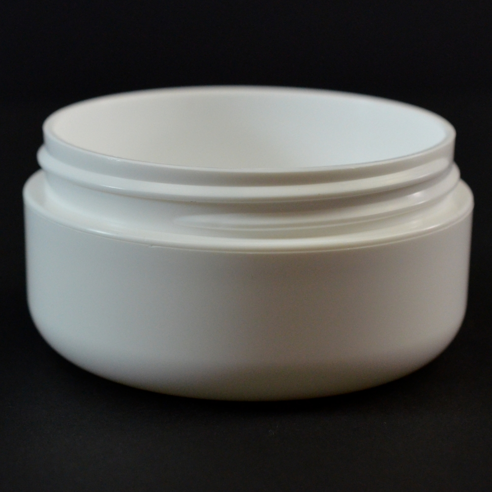 2 oz 70/400 Double Wall Round Base Low Profile White PP Jar
