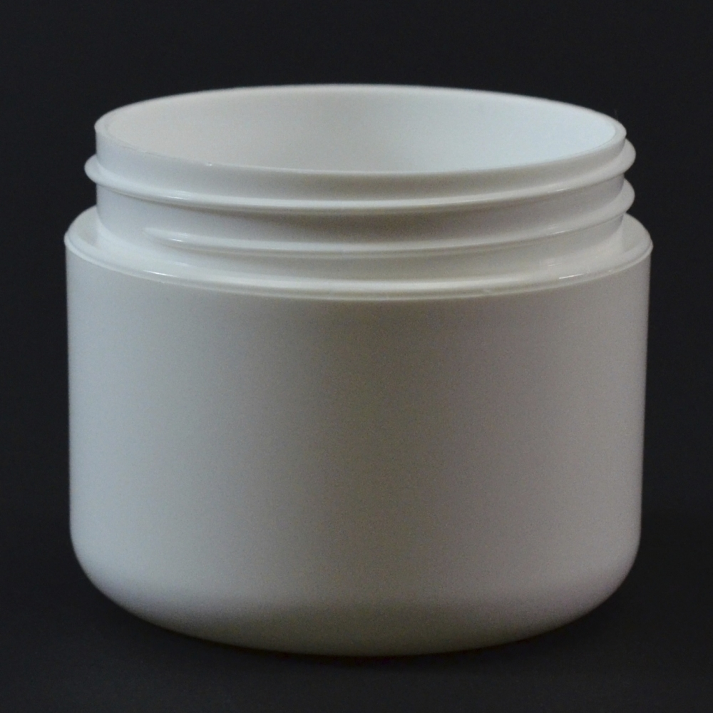 2 oz 58/400 Double Wall Round Base White PP Jar