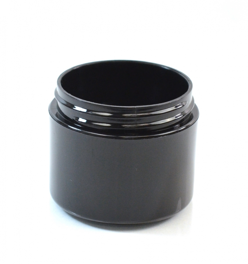 2 oz 58/400 Double Wall Straight Base Black PP Jar
