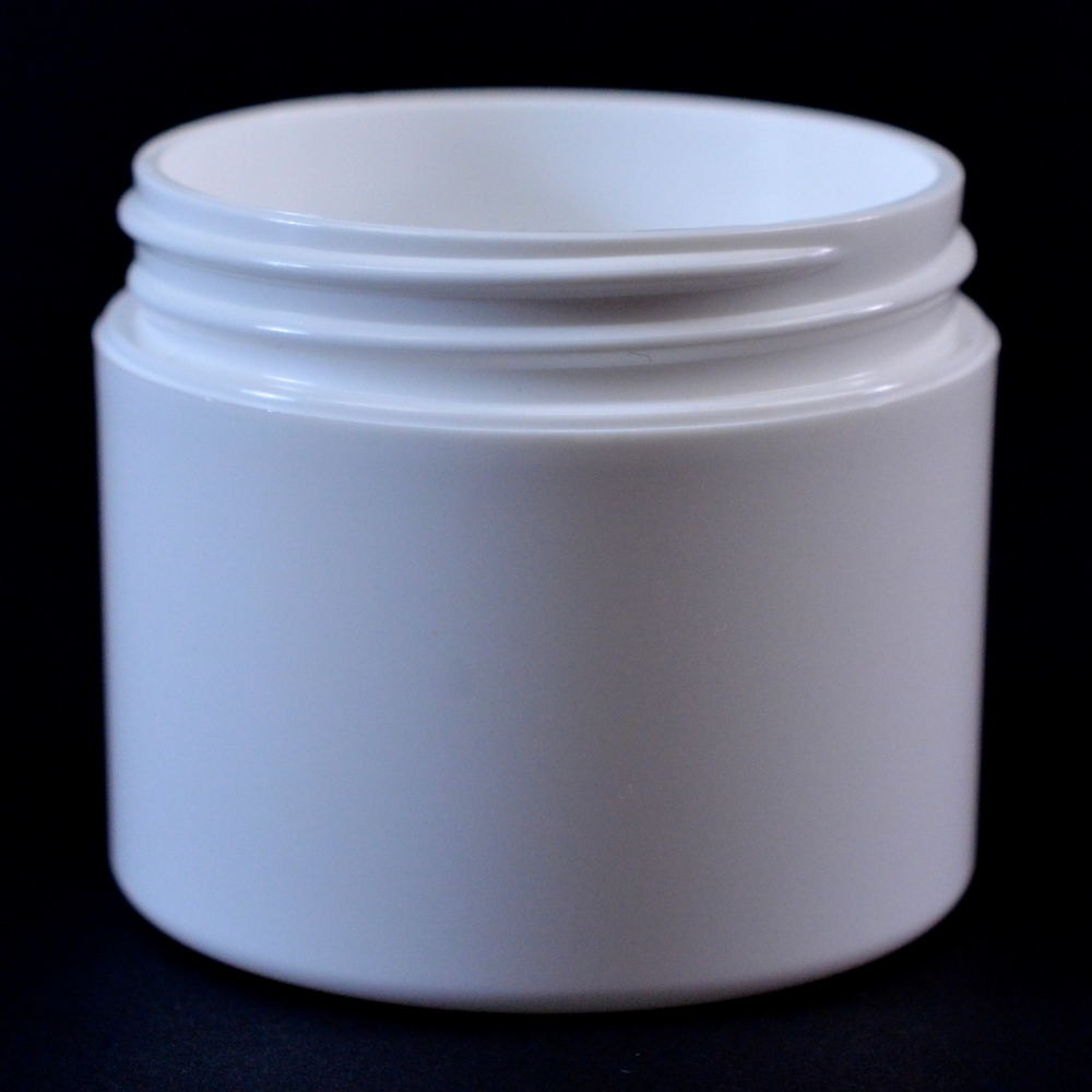 2 oz 58/400 Double Wall Straight Base White PP Jar