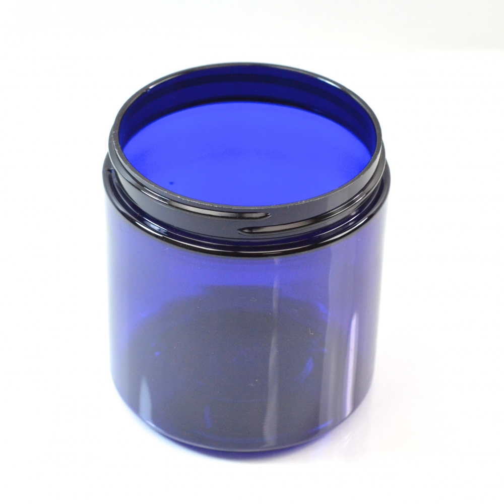 2 oz 48/400 Wide Mouth Cobalt Blue PET Jar