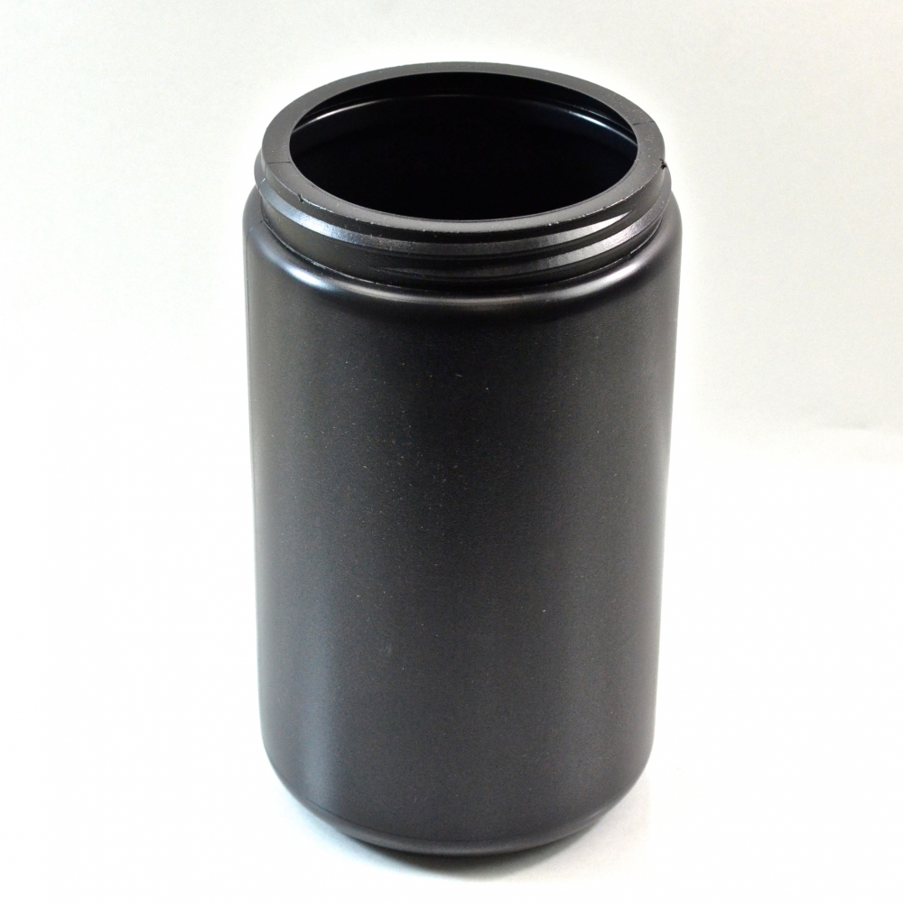 32 oz 89/400 Black HDPE Wide Mouth Regular Wall Straight Sided Jar