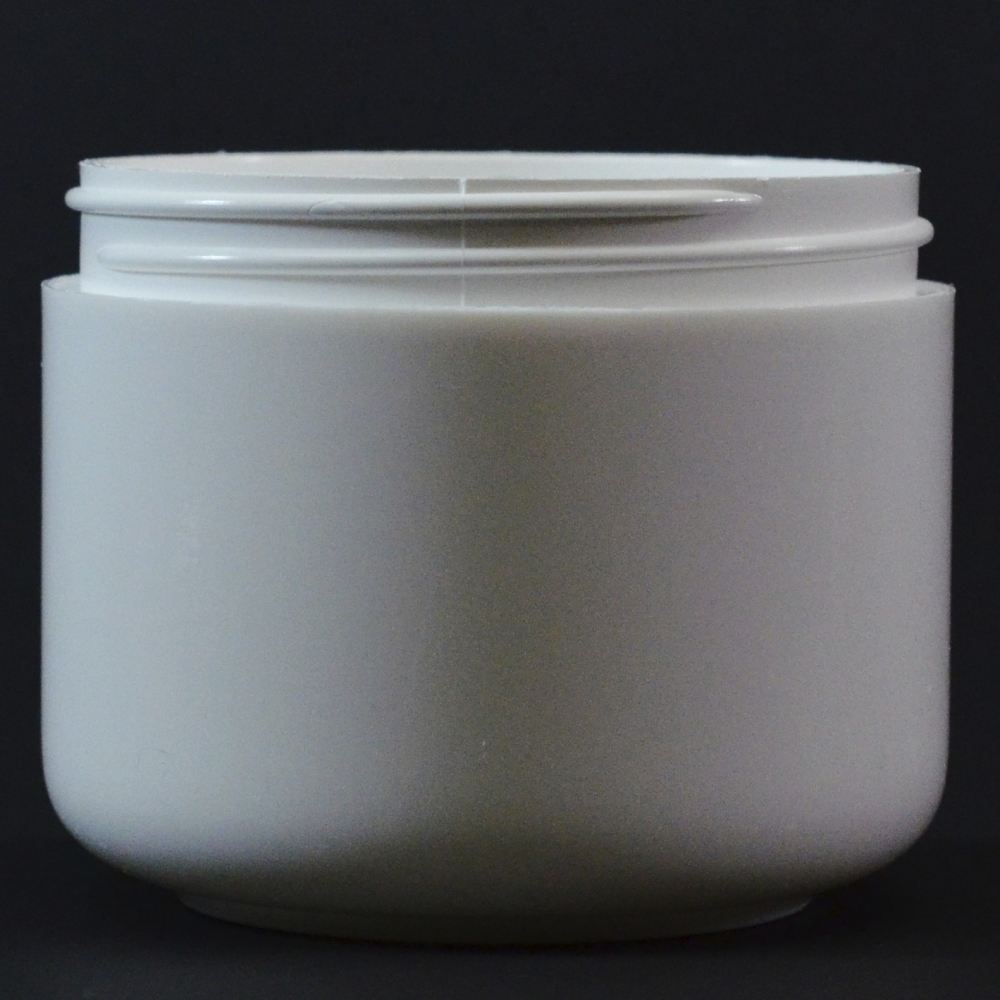6 oz 70/400 Double Wall Round Base White PP Jar