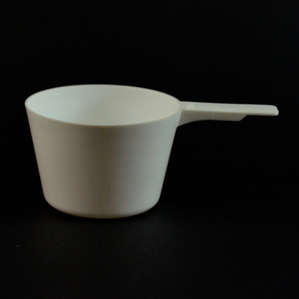 90 cc Plastic Measuring Scoop White Short Handle 3.978 X 2.478 X 1.652