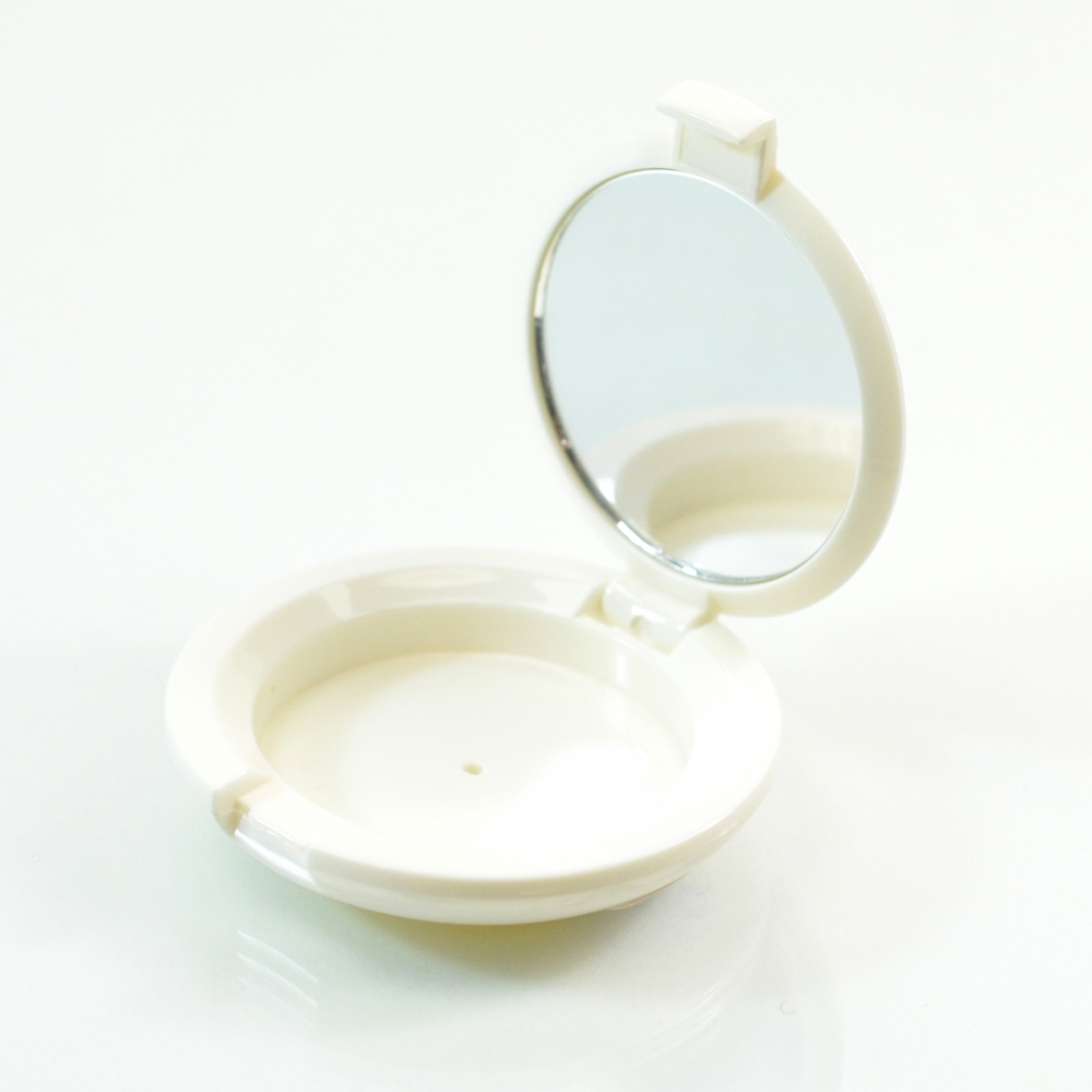 Compact Small Round ABS White with Mirror Pinned-Hinge 1.850″ x 0.483″