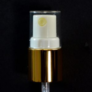 Spray Pump 18-415 White with Shiny Gold Collar Clear Hood_1659