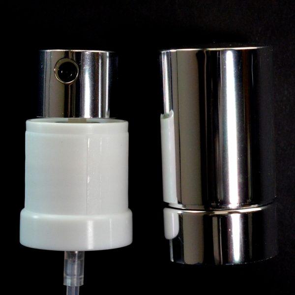Spray Pump 22-415 Black with White Collar Shiny Silver Hood_1701