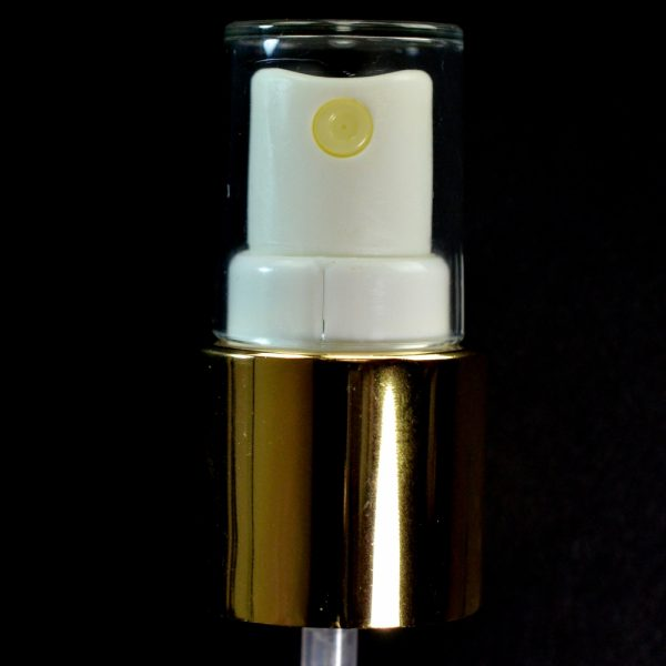 Spray Pump 22-415 White with Shiny Gold Collar Clear Hood_1709