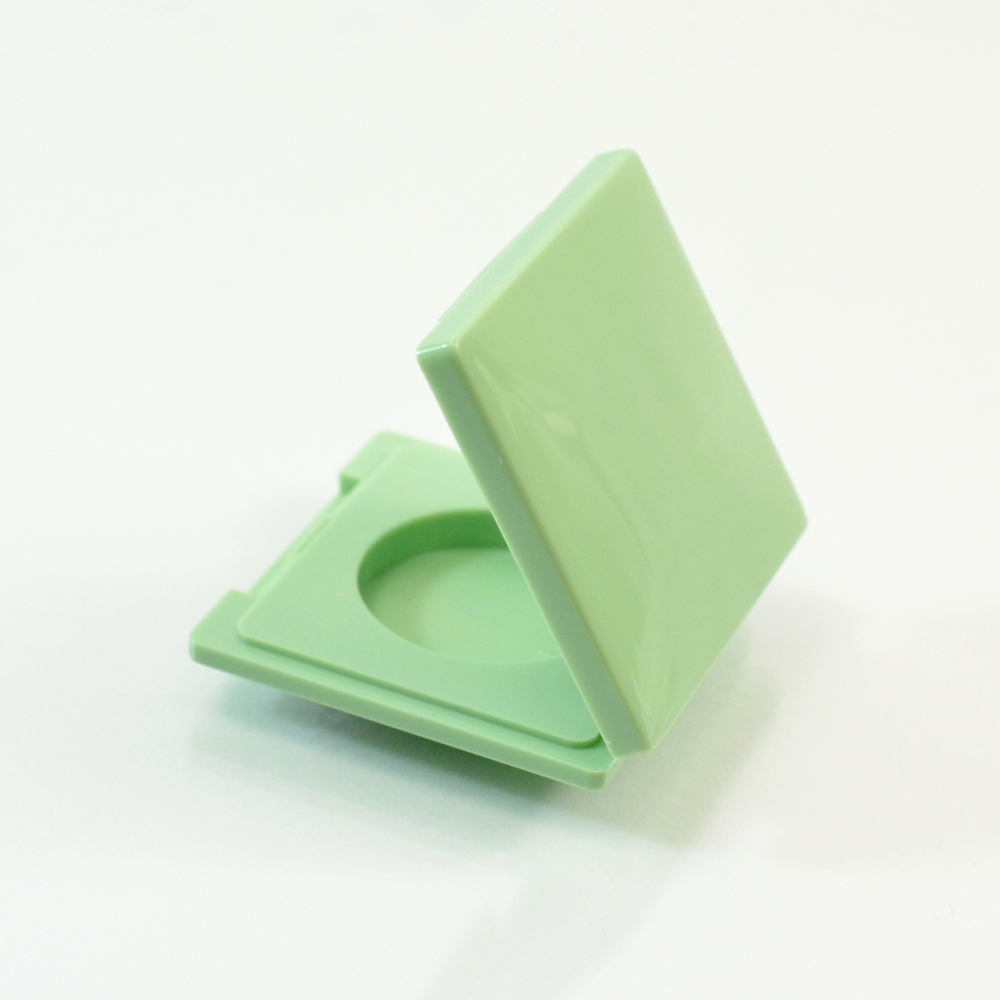 Compact Square LH Small Round PP Pale Green with Mirror Pinned-Hinge 1.795″ x 1.835″ x 0.480″