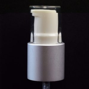 Treatment Pump 20-415 White with Matte Silver Collar Clear Hood_1593