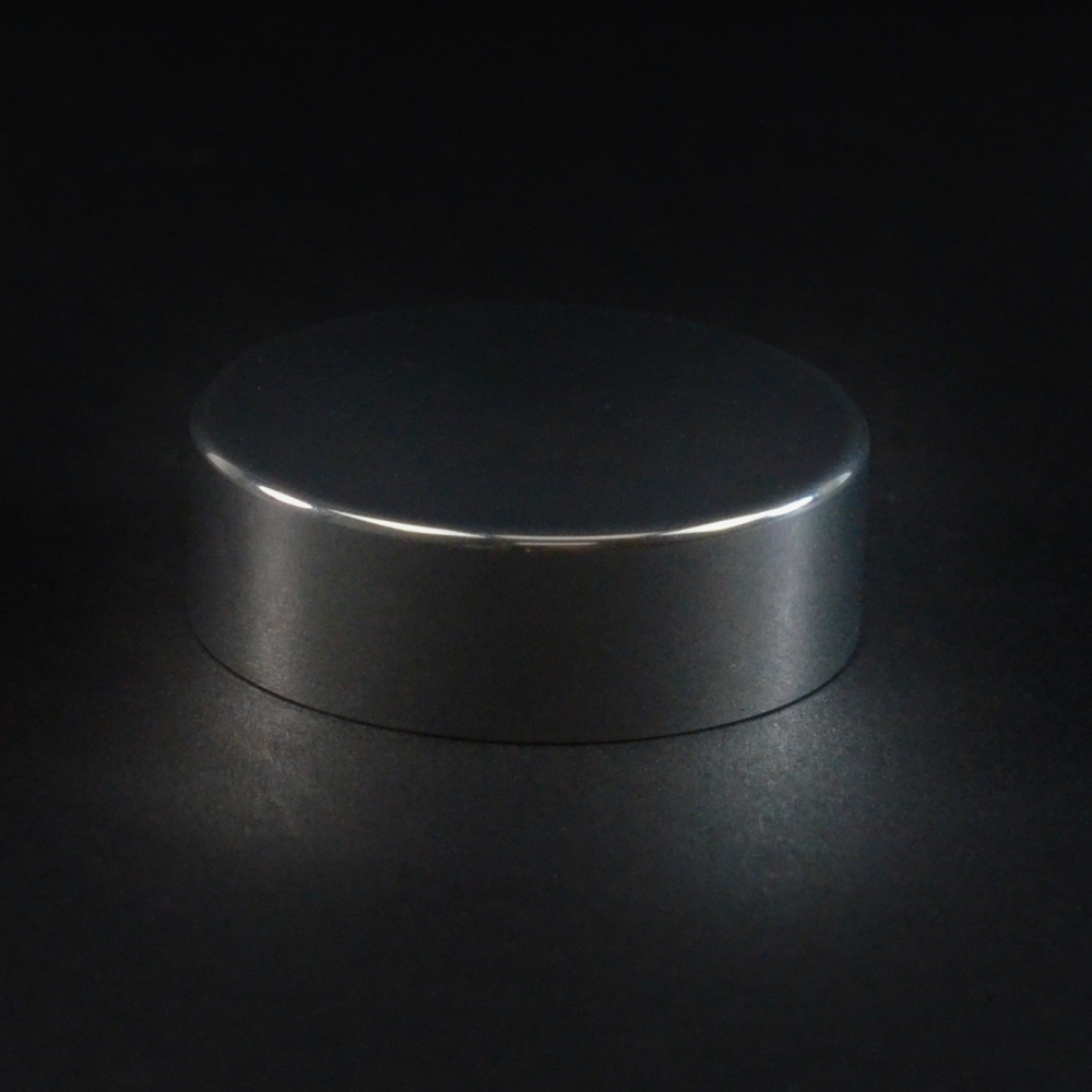 38/400 Shiny Silver Metal Overshell Straight Sided Cap F217