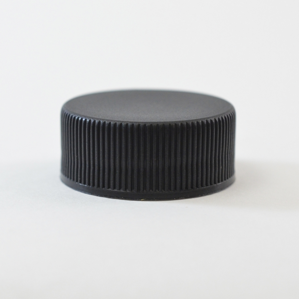24/400 Black Ribbed Straight PP Cap / PS Liner