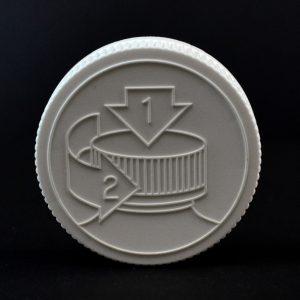 Plastic Cap 53mm CRC Pictorial White PP_2054