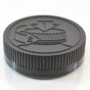 Plastic Cap 53mm Ribbed Black Pictorial CRC_2052