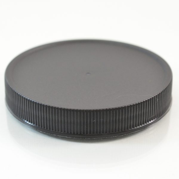 Plastic Cap 70mm Ribbed Black RM_2890