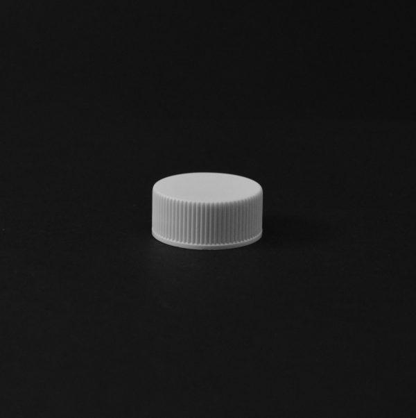 Plastic Cap CT Fine Ribbed White PP 22-400 RX_2783