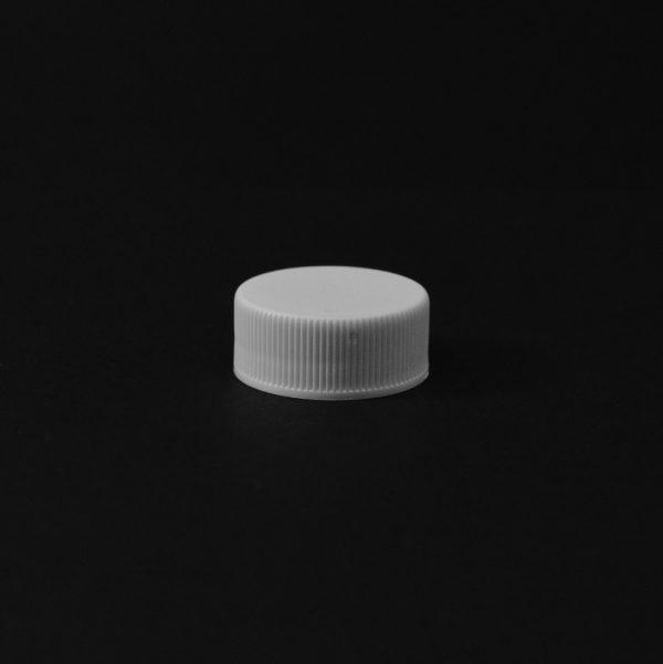 Plastic Cap CT Fine Ribbed White PP 24-400 RX_2789